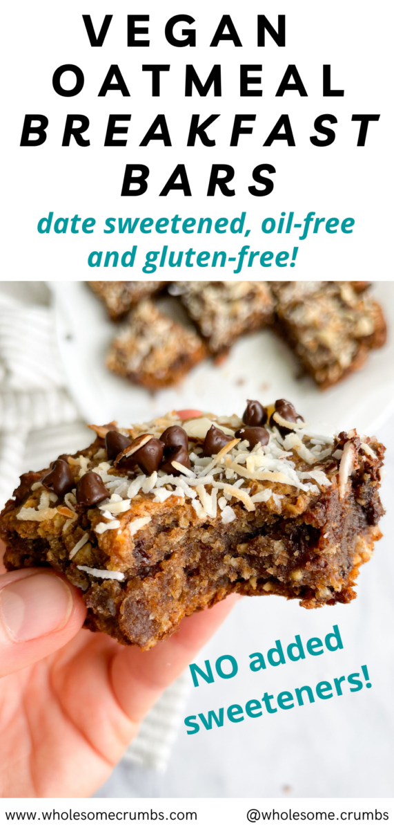 Vegan Date Sweetened Oatmeal Breakfast Bars [Oil-Free, GF]