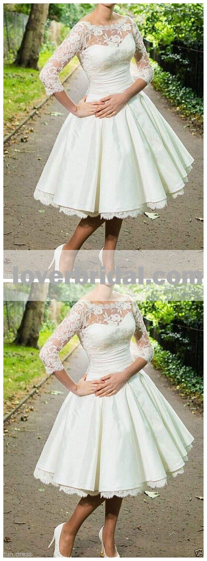 Cheap long sleeve lace illusion short wedding dresses online wd