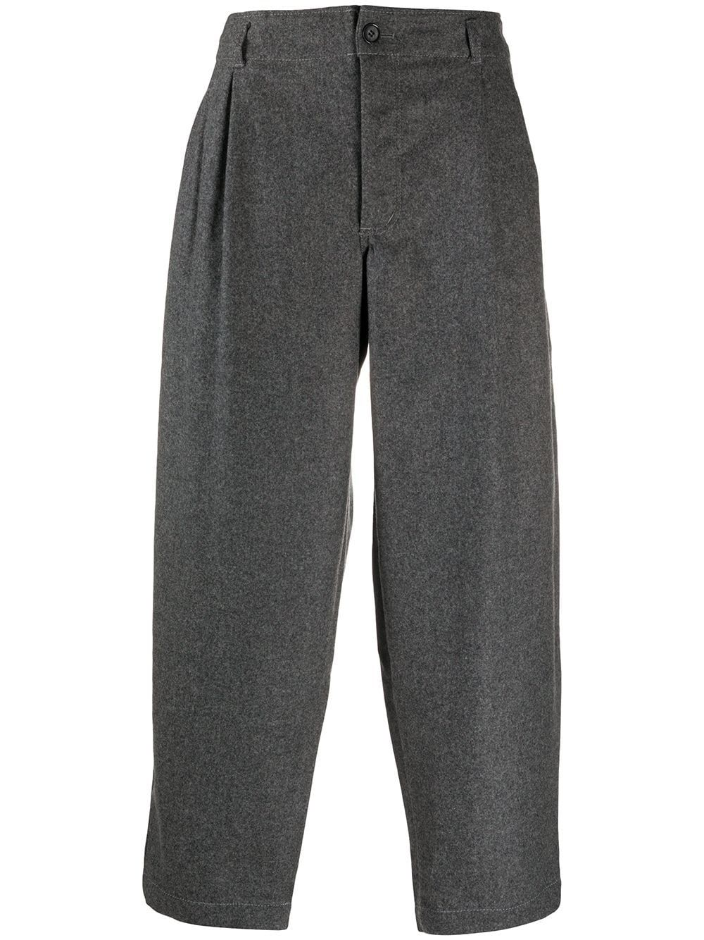 Grey wool cropped loose fit trousers from COMME DES GARÇONS SHIRT featuring cropped leg, loose fit and tapered fit.
