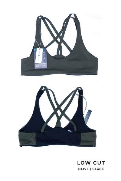 c2f40339db TOURA Low Cut Basewear Top in Olive   Black - Comfortable Sports Bra Bikini  Hybrid for Rock Climbing and Swimming.