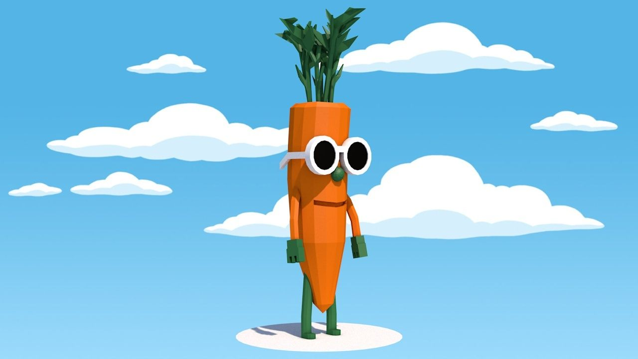 Low Poly Carrot Character With Images Character Low Poly Poly