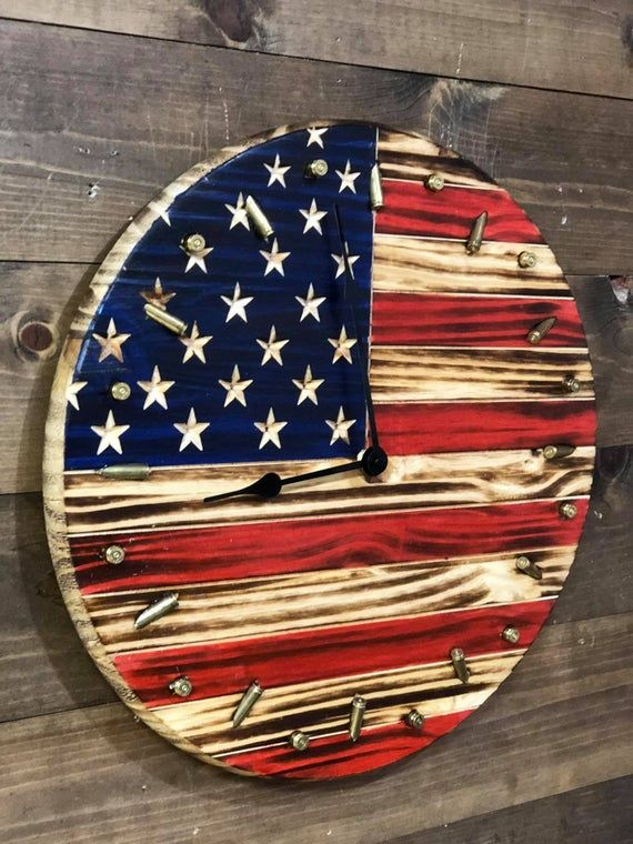 Rustic American Flag Clock | Patriotic Flag & Bullet Clock | Rustic American Flag With Freedom Seeds