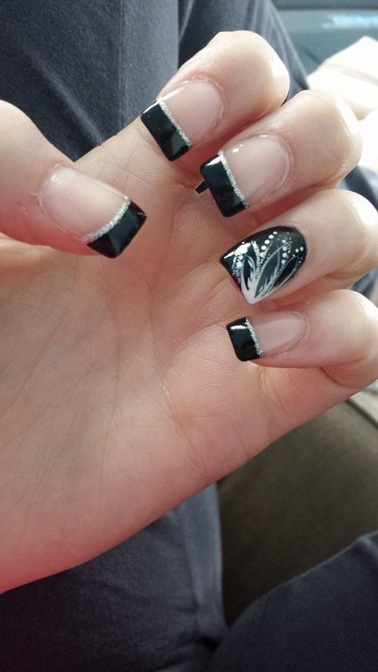 nails #acrylic #black #square #silver #frenchtip #white #cute #prom ...
