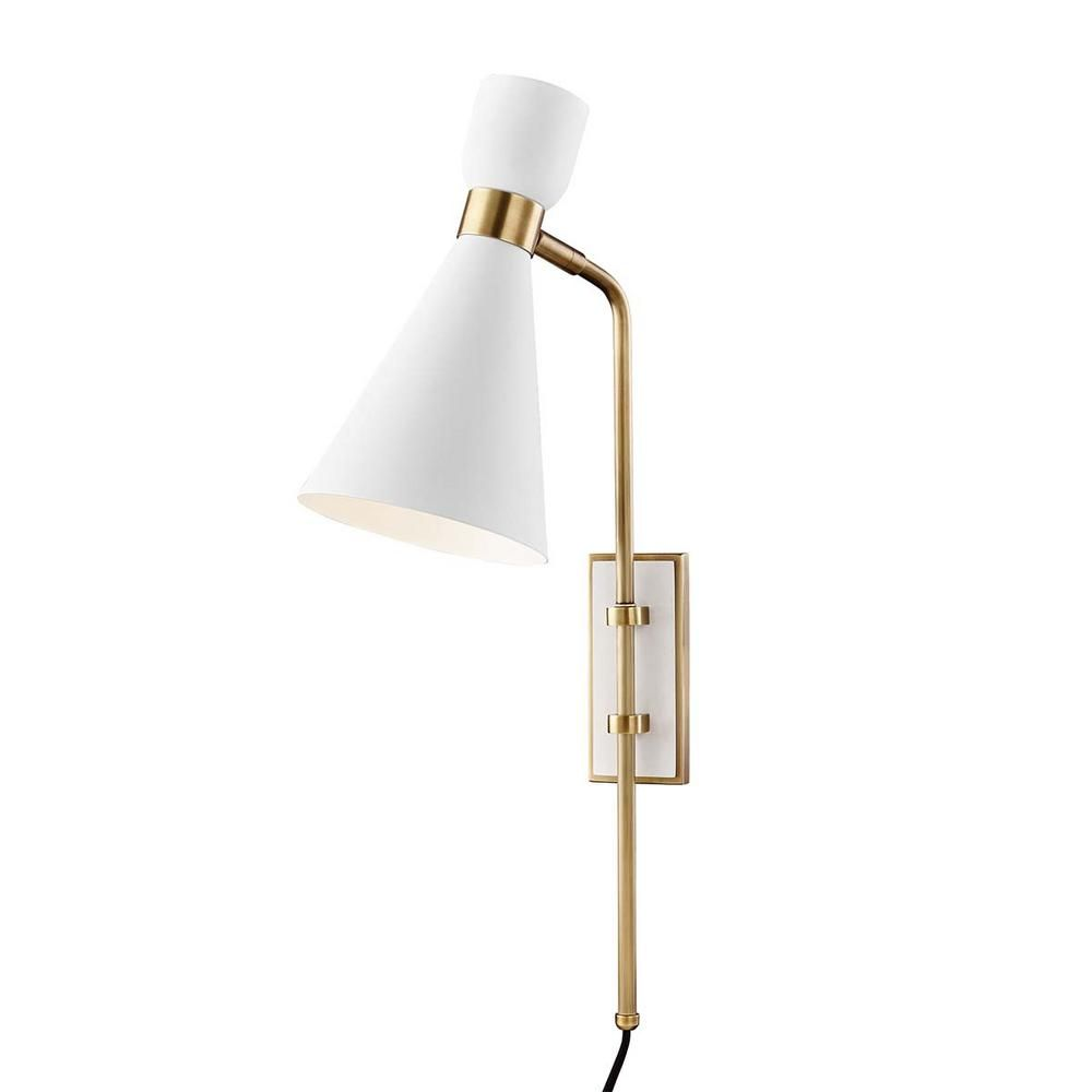 Mitzi By Hudson Valley Lighting Willa 1 Light Aged Brass White Wall Sconce In 2020 Sconces Hudson Valley Lighting Wall Sconces