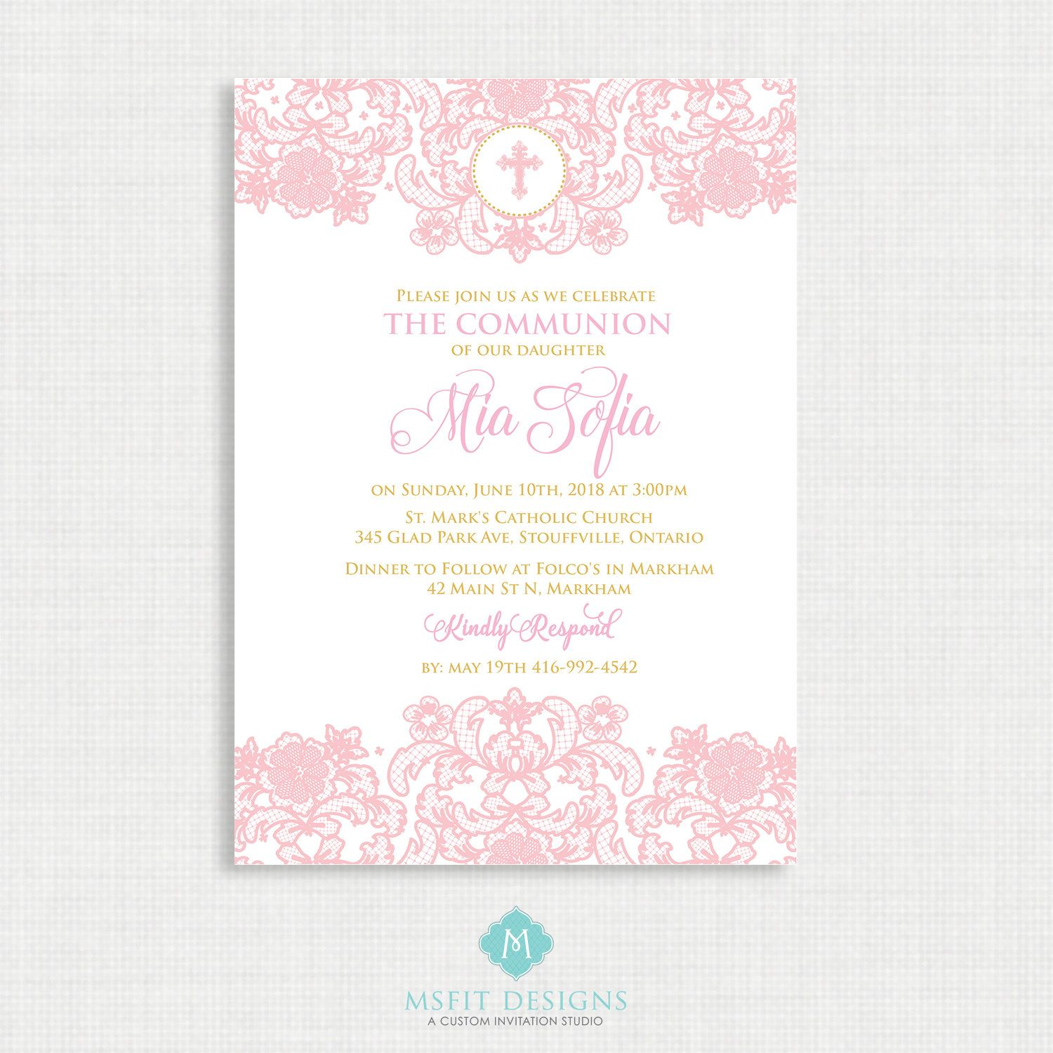 Lace Baptism Invitation- Girls Baptism Invitation - Baby Dedication ...