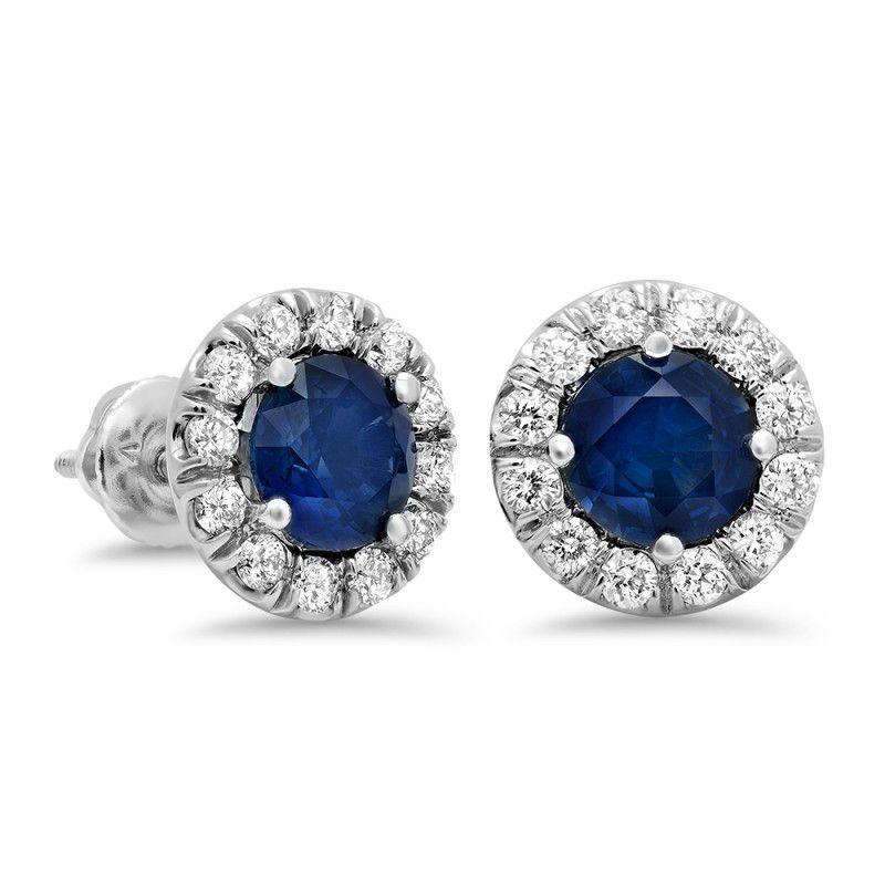 3 01ctw Blue Sapphire Diamond Stud Earrings 14k White Gold Halo Earrings Studs Diamond Earrings Studs Diamond Studs