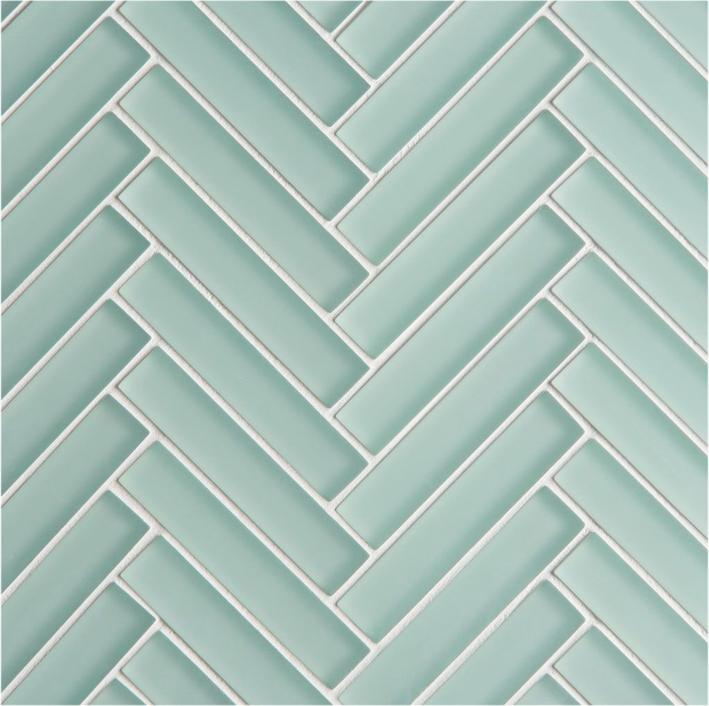 Glacier Green Glass Herringbone Mosaic Tiles Blue Glass Tile