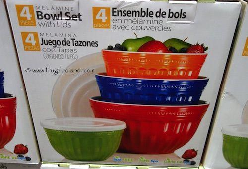 4-Piece Melamine Bowl Set with Lids by Pandex Costco   Melamine Bowl ...