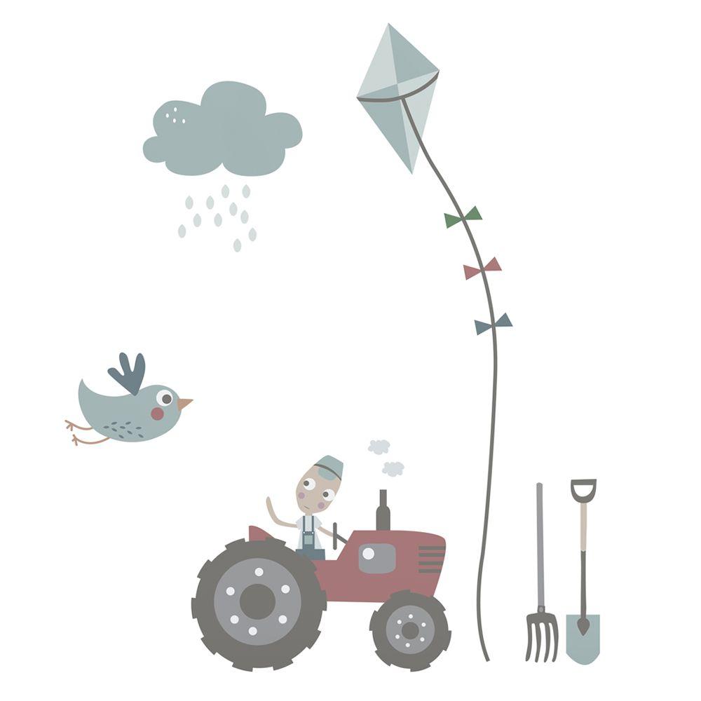 Sebra Kinderzimmer Wandsticker \'Traktor\' blau/grau/bunt H 90cm bei ...