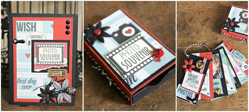 Matchbox with mini album & card http://espacecreatifvc.canalblog.com/