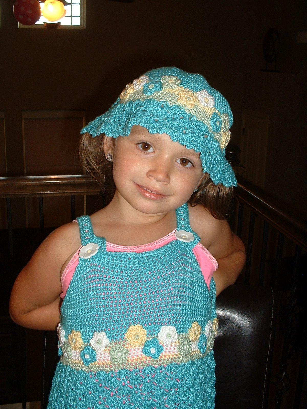 Crochet Thread Dress and Matching Hat