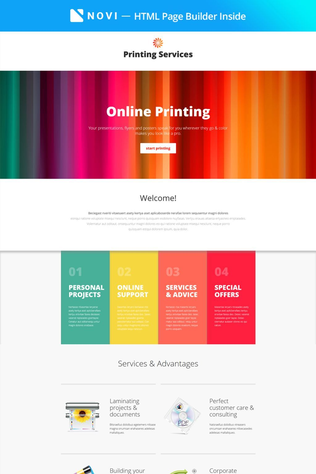 Printing Services - Online Printing with Novi Builder Landing Page