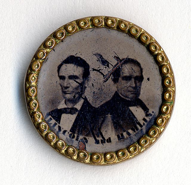 Images of Abraham Lincoln and the 1860 Campaign for President: A Lincoln-Hamlin Campaign Button