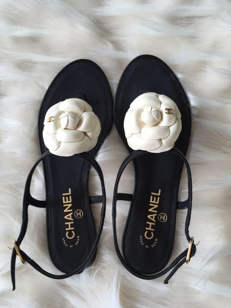 557737238 NIB Chanel black thong CC Camellia Flower mule slide strap sandal flat 38C   CHANEL  blackthongsandal
