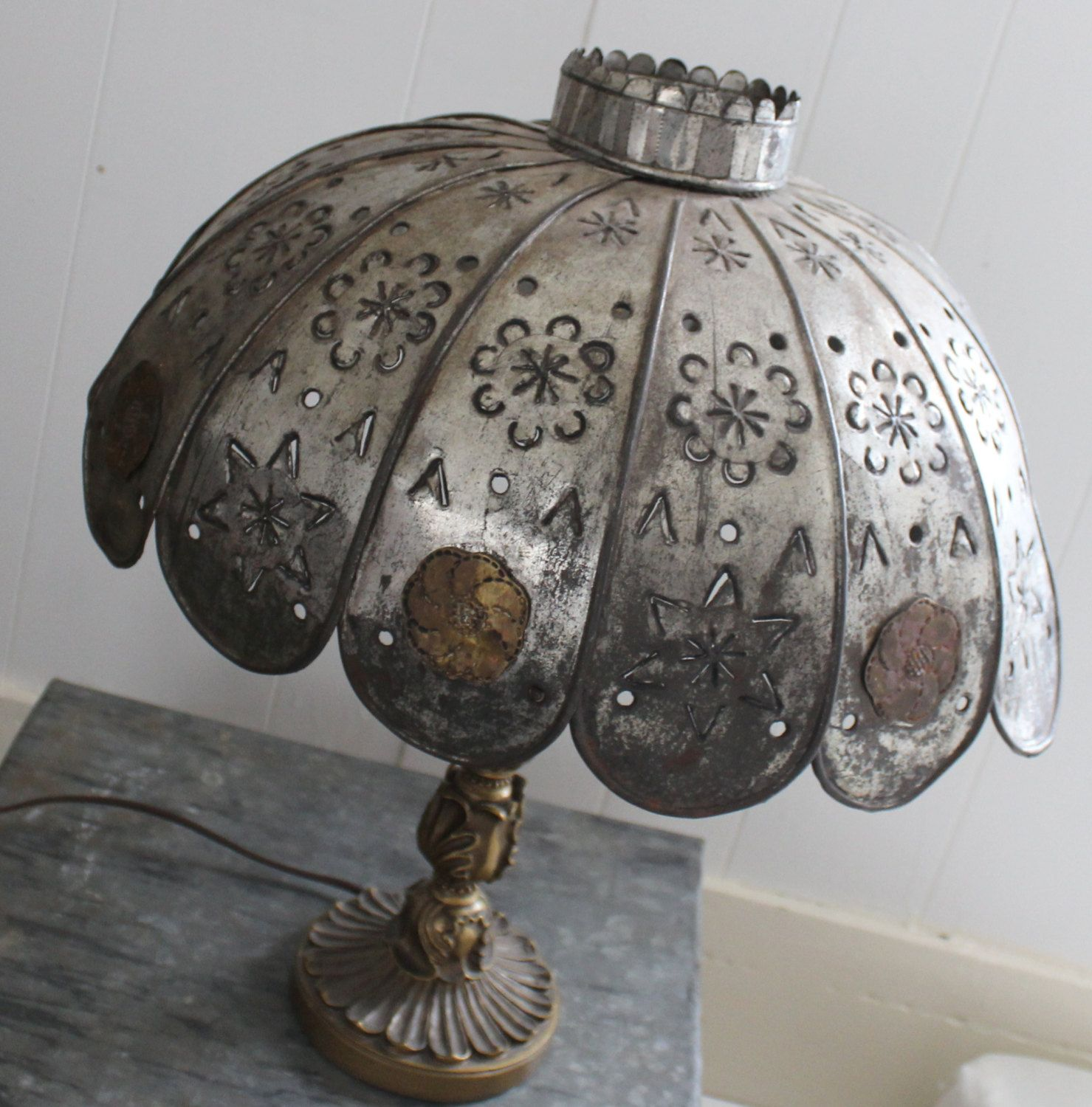 Items Similar To Vintage Handmade Punched Tin And Brass Lamp Shade On Etsy Brass Lamp Punched Tin Lamp