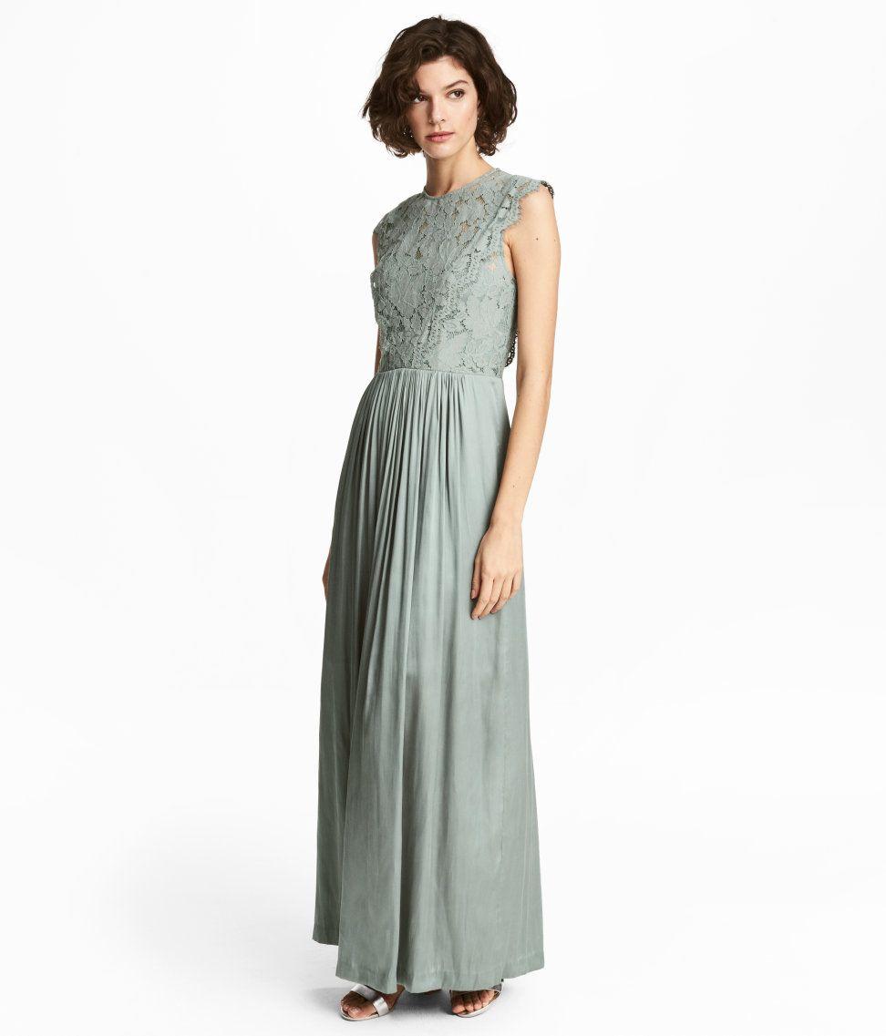 Sieh\'s dir an! Langes Kleid mit Spitze am Oberteil und einem Rock ...