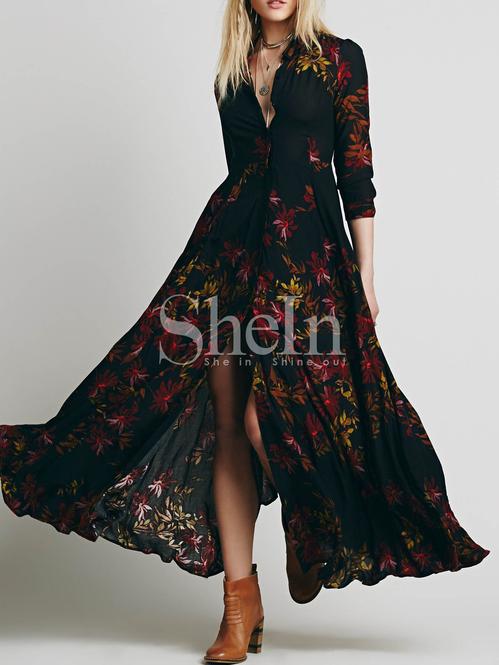 Black Long Sleeve Lapel Leaves Print Maxi Dress Maxi Dress Floral Dress Black Printed Maxi Dress [ 2127 x 1596 Pixel ]
