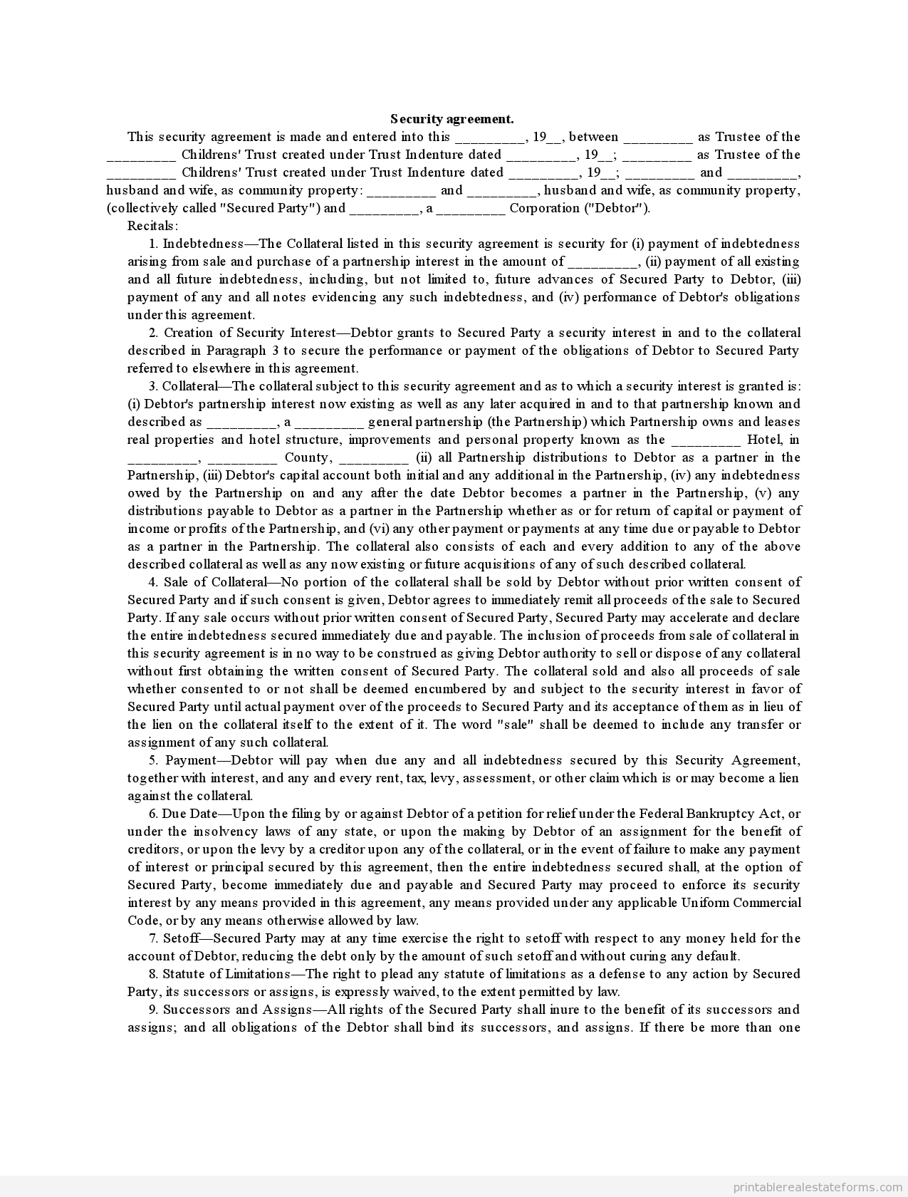 Printable Sample security agreement Form – Sample Security Agreement