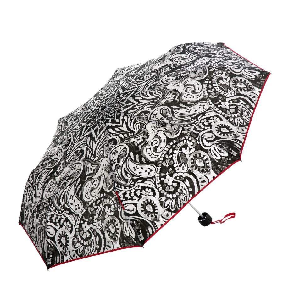 Paraguas originales online. Paraguas Pertegaz mujer cachemir rojo. Plegable y antiviento sistema windproof. Apertura y cierre manual. Ligero compacto. Alto 24 cm