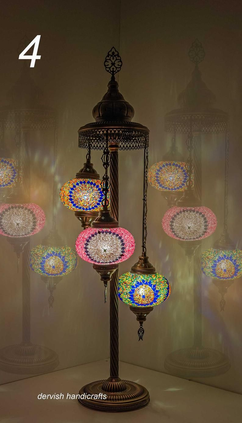 Turkish Moroccan Mosaic Table Lamp Multicolor FREE and Fast Shipping