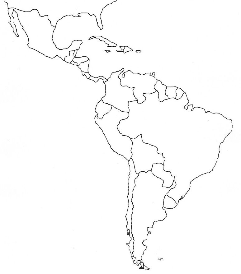 Latin America Map Template Outline Group