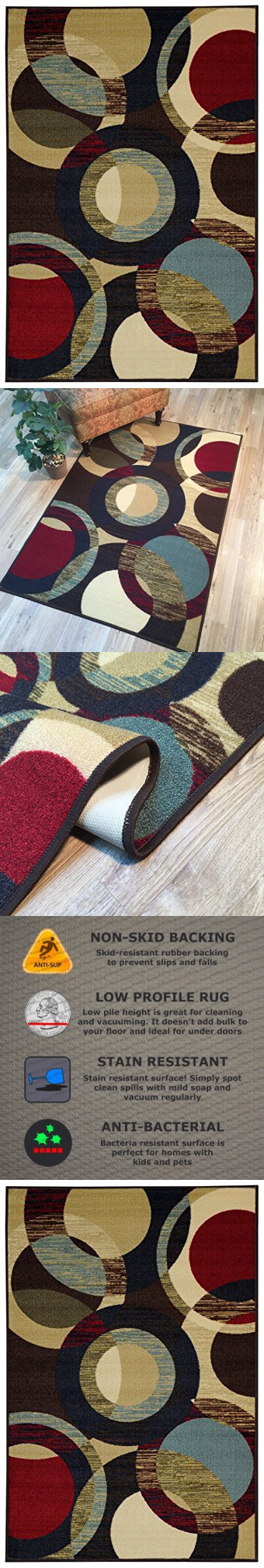 Anti Bacterial Rubber Back Area Rugs Non Skid Slip 3x5 Floor Rug