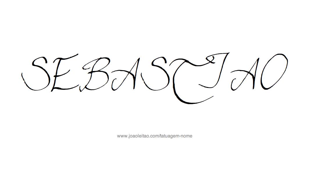 Desenho de Tatuagem com o Nome Sebastiao