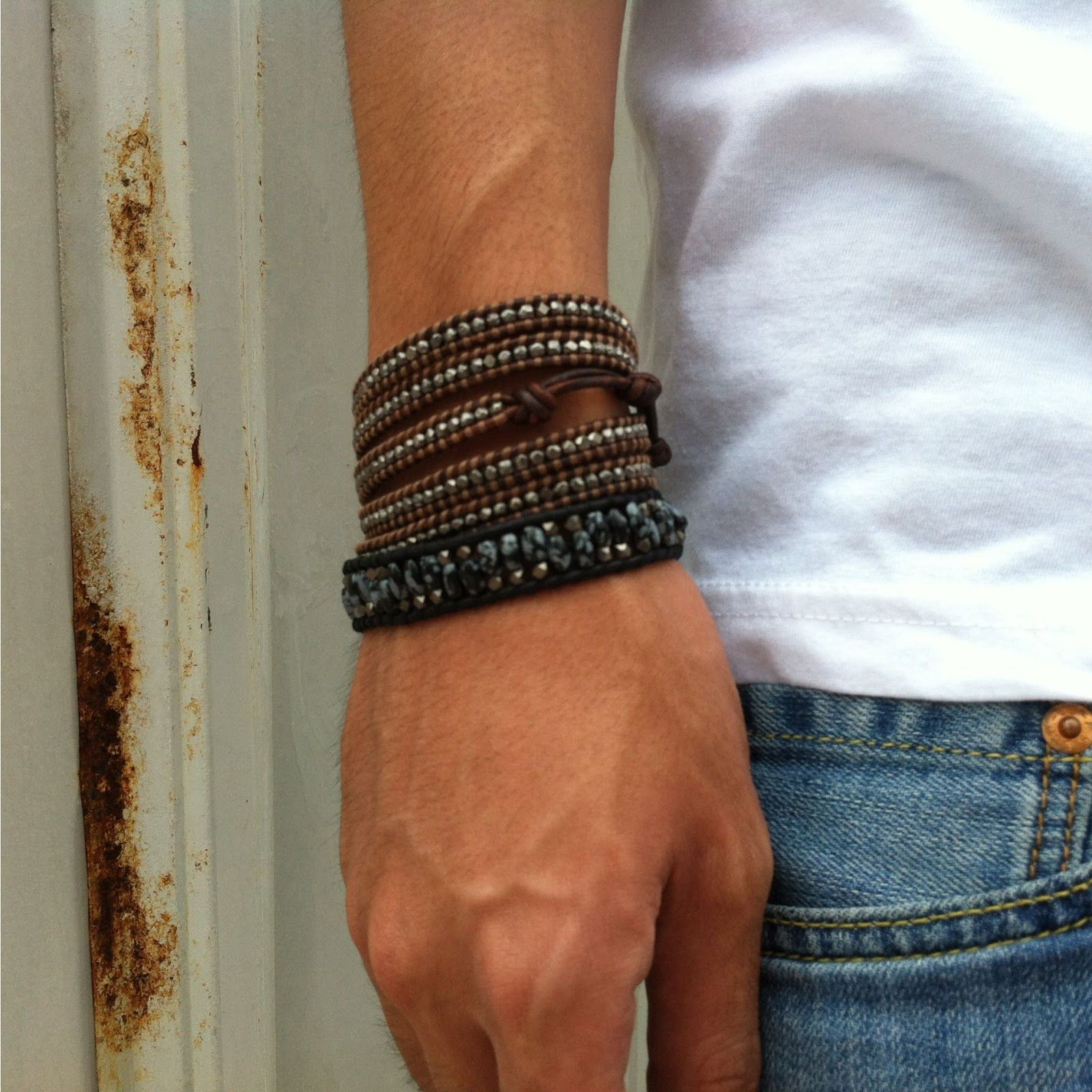 Diy How To Make Chan Luu Style Men S 5 Wrap Bracelet Antique Gunmetal On Red Brown Leather