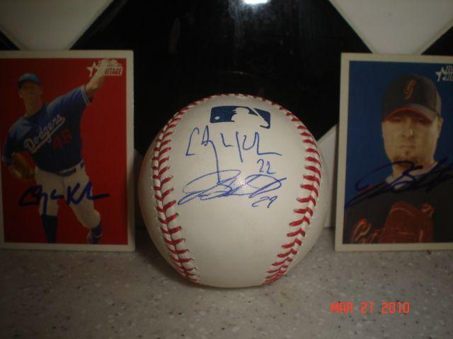 Clayton Kershaw Jason Schmidt Autographed Ball Cards Clayton Kershaw Schmidt Autograph