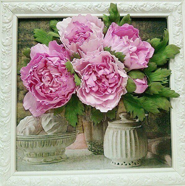 Картины с цветами из фоамирана | Цветы из глины, Цветы