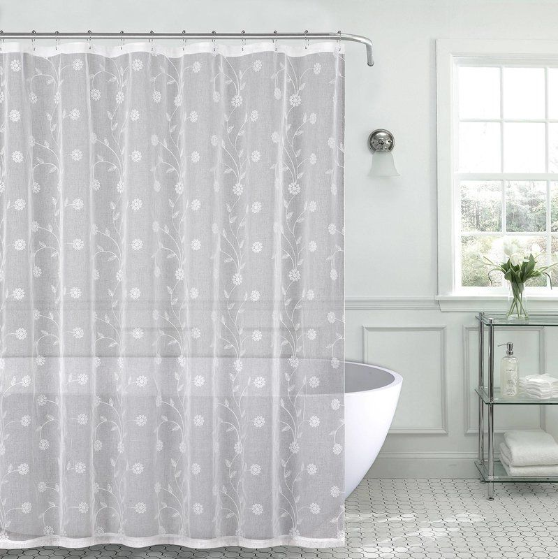Mirtha Nature Floral Metallic Daisy Embroidered Sheer Fabric Shower Curtain Fabric Shower Curtains White Shower Curtain