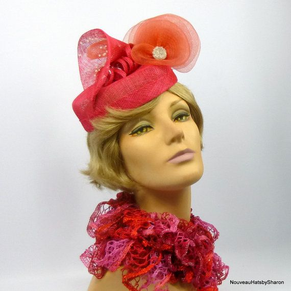 Red Sinamay Pillbox Fascinator Hat by NouveauHatsbySharon on Etsy ... 75a53045fc6