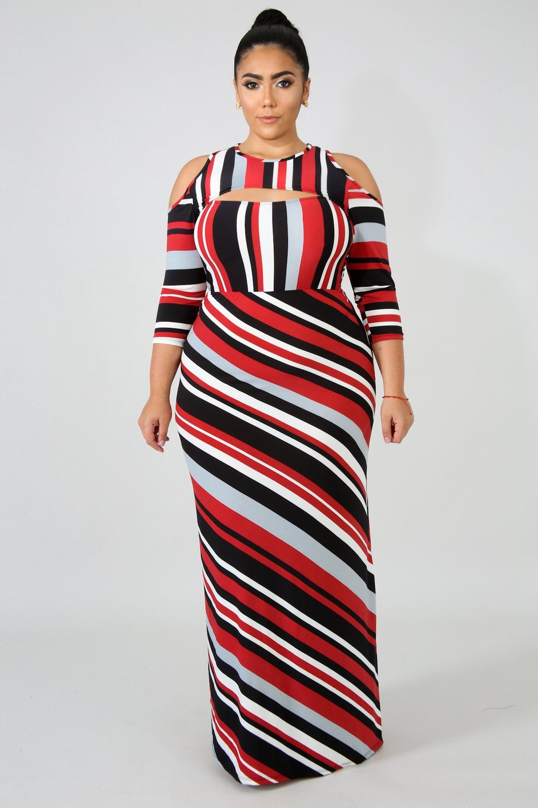Striped Maxi Dress Style Qd72089 4descriptionthis Striped Maxi Dress Featuring Soft Stretchy Fabric Cold Shoul Striped Maxi Dresses Maxi Dress Plus Dresses [ 1620 x 1080 Pixel ]