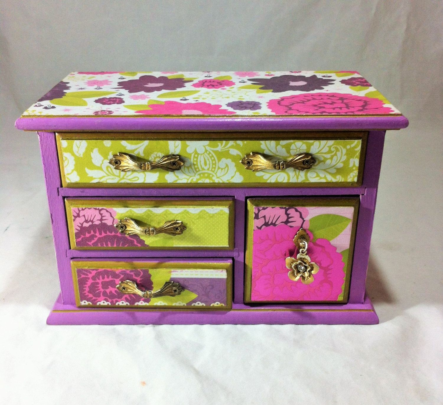 Lavender Girls Jewelry Box Floral Jewelry Organizer Music Box