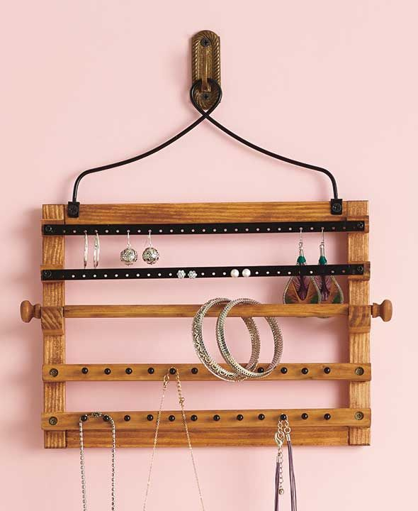 Store your jewelry on this Wall Moutned Hanging Jewelry Organizer