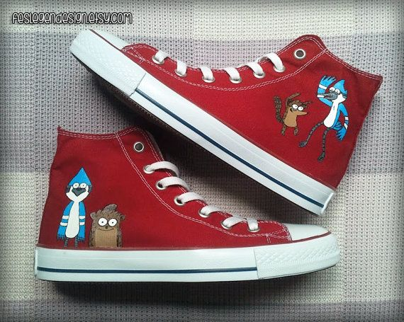 Hey, I found this really awesome Etsy listing at https://www.etsy.com/listing/173175162/mordecai-and-rigby-custom-converse
