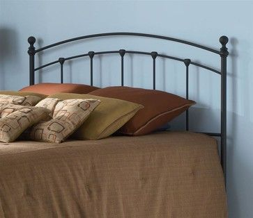 Curved Metal Headboard In Matte Black Finish (Twin) transitional-headboards