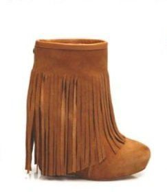 877098ed40f Veleta Suede Wedge Ankle Boot with Fringe in 2 Colors - by ...