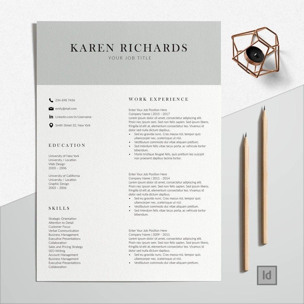 Buy Professional Looking Resume Modern CV Layout at
