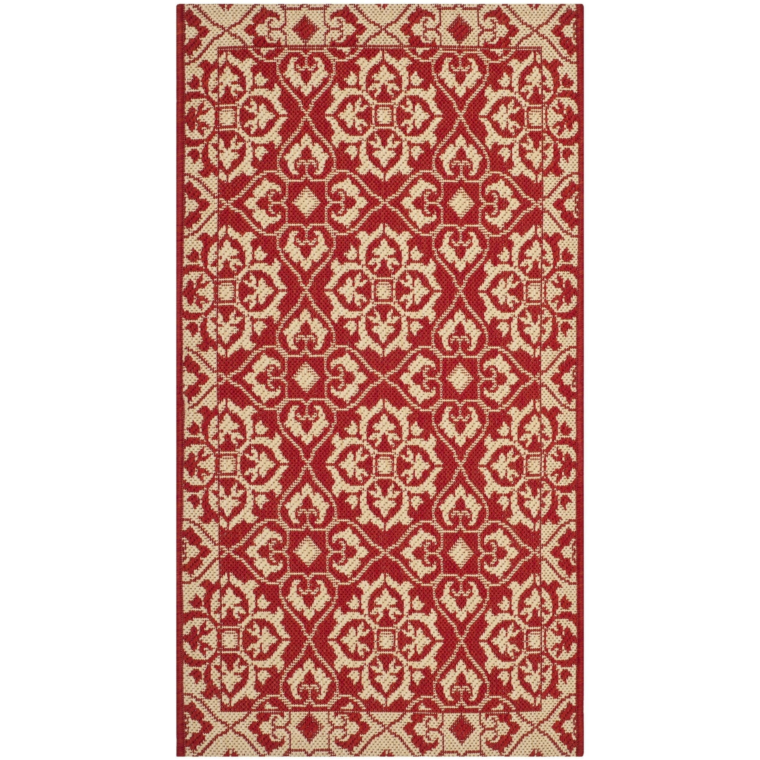 Safavieh Courtyard Elegance Red Cream Indoor Outdoor Rug 2 X 3 7 Cy6550 28 Olefin Geometric