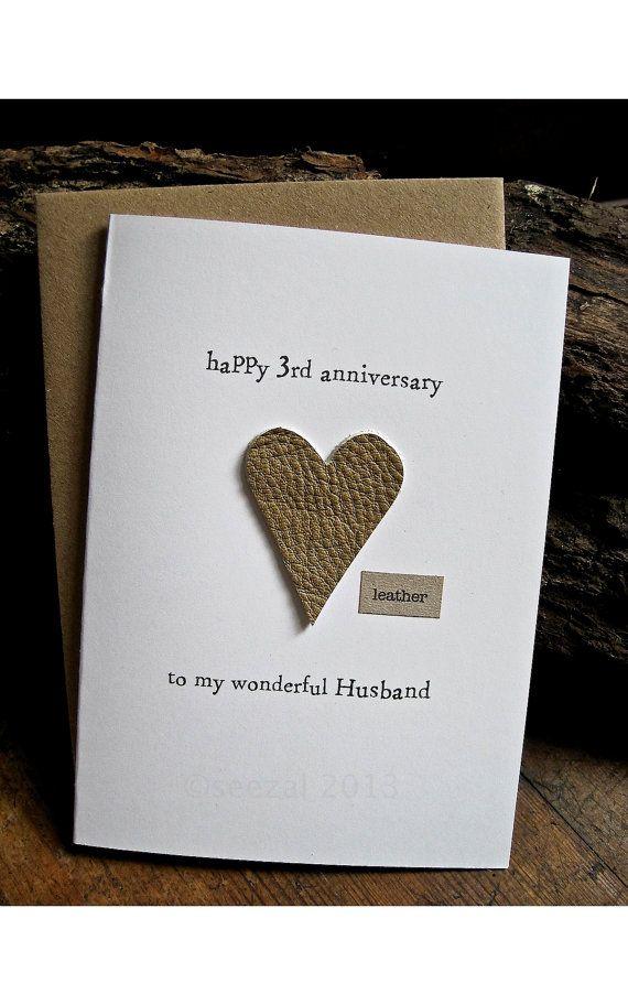 3rd Wedding Anniversary Card Husband Traditional Gift Leather Handmade Ke 3rd Wedding Anniversary 3rd Wedding Anniversary Gift Ideas Wedding Anniversary Cards