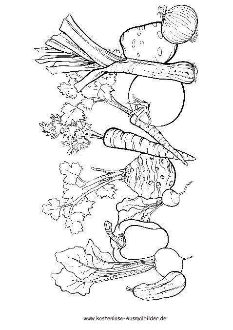 Ausmalbild Gemüse … | Gesunde Ernährung | Pinterest | Ausmalbilder ...