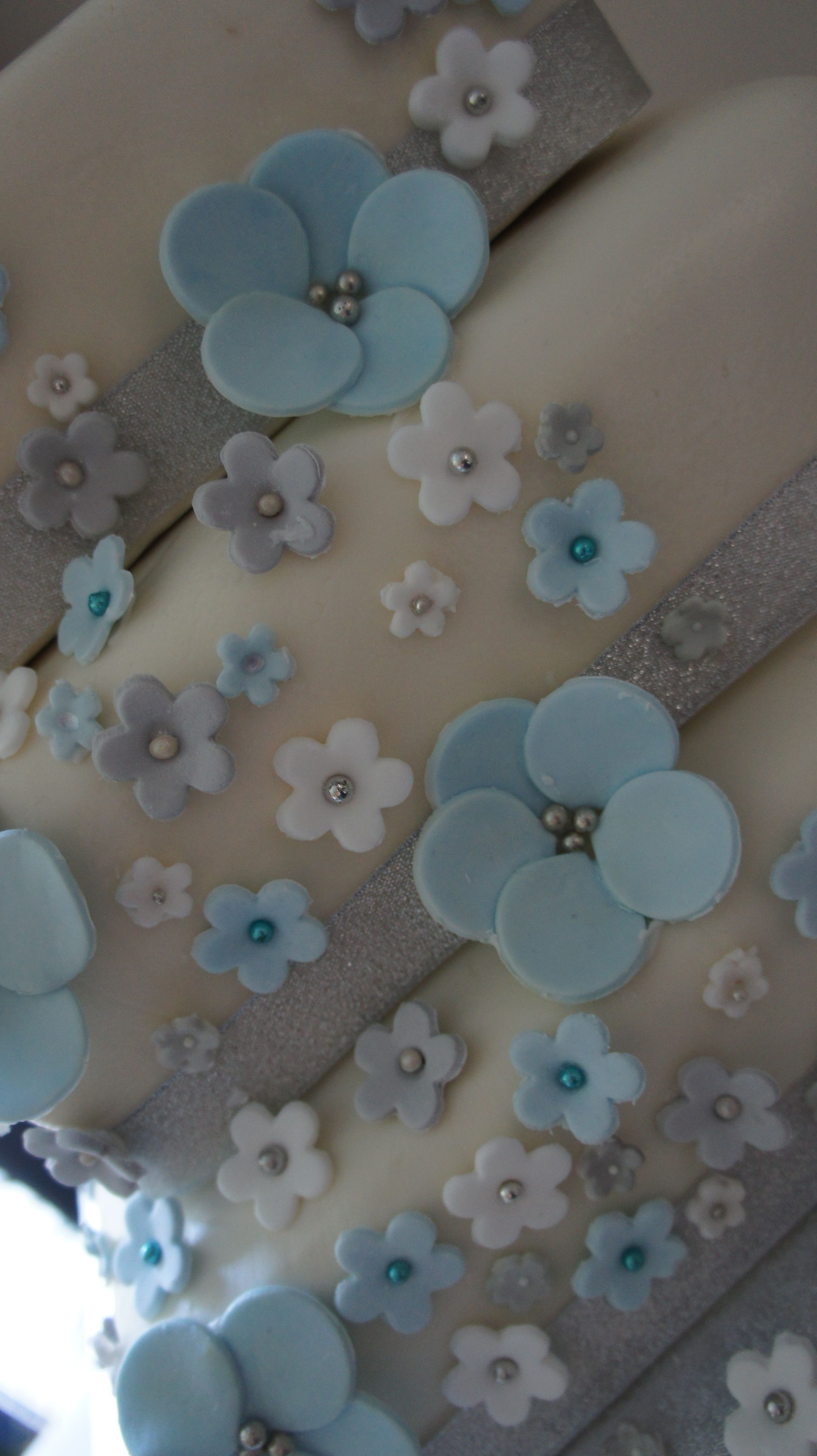 Edible Blue Silver White Sugarpaste Flowers Over 3 Tier Square
