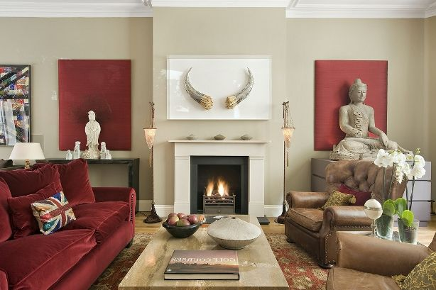 Oriental Small Living Room Ideas With Fireplace Burgundy Living