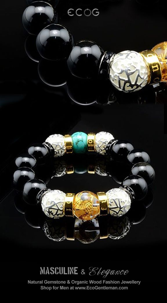 ♂ Unique Fashion Jewelry for Men - Black Obsidian Green Turquoise Hand Carved Gold Dragon Citrine Natural Gemstone Bracelet with Glowing Beads for him - Masculine & elegance