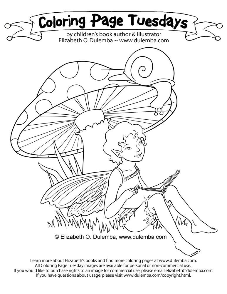 Coloring Page Tuesday Fairy Reading To A Snail Fairy Coloring