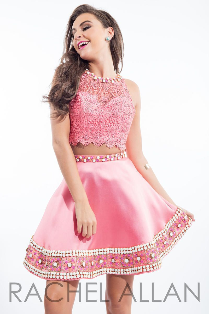 Flirty Lace Posh Beads 2-Pc Coral Pink Rachel Allan 4105 Short Prom ...