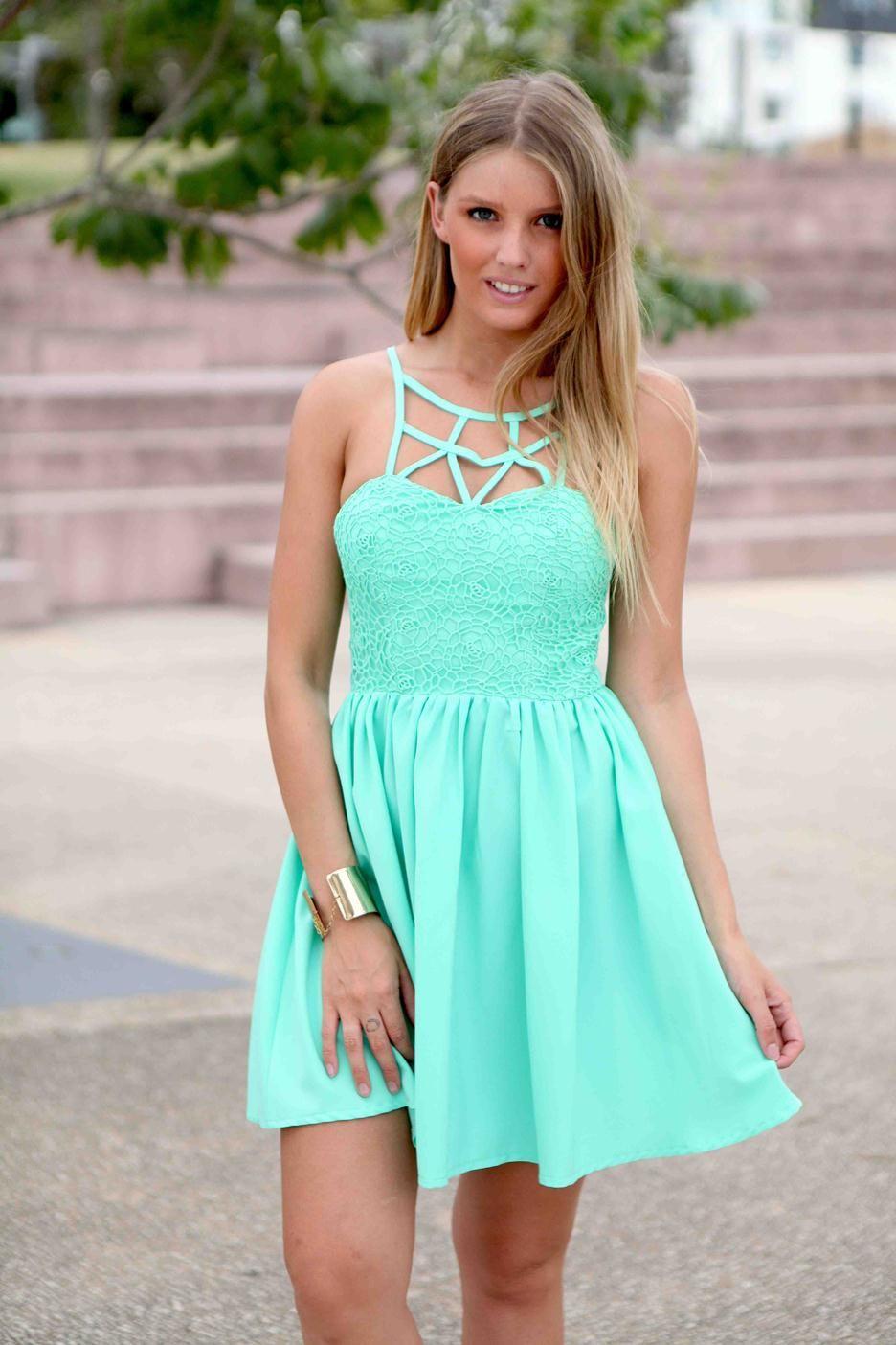 Mint Green Lattice & Floral Lace Bodice Skater Dress #partydress ...