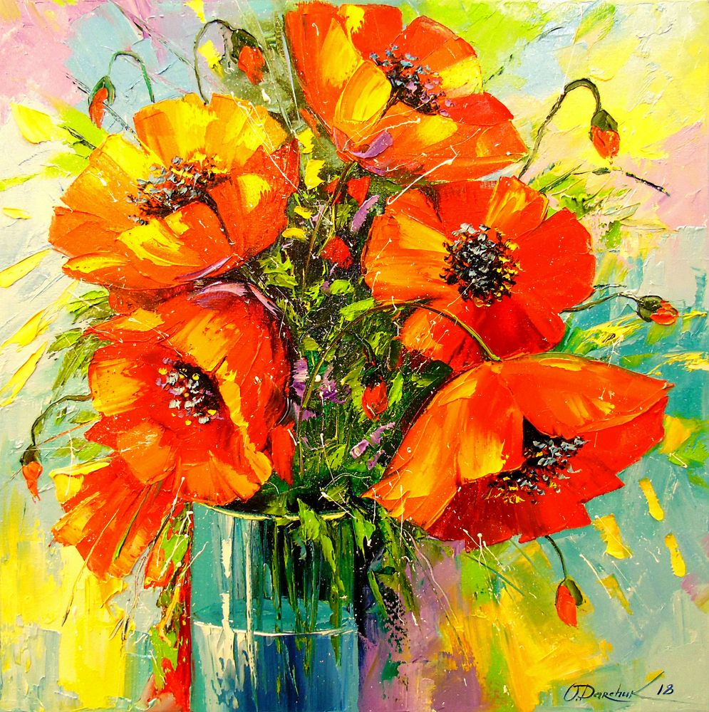 Bouquet Of Poppies Art Print By Olhadarchuk Art X Small In 2020 Flower Art Painting Poppy Painting Poppy Art