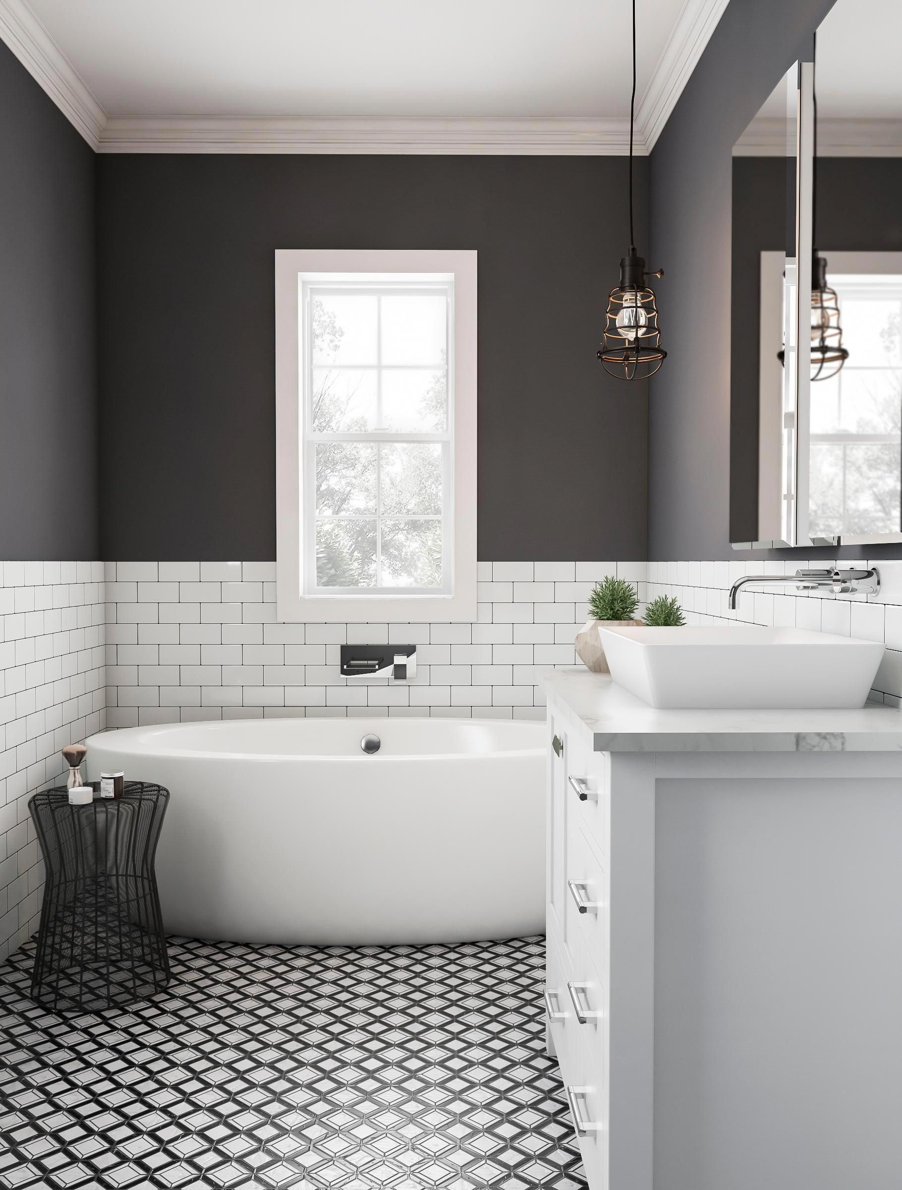 The right contrasts let you go dark in the bathroom Work your bold